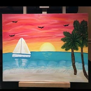 Sailboat in a tropical sunset